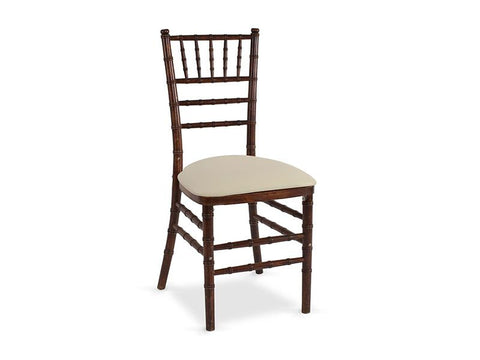 Mahogany Chiavari Chair with Ivory Cushion