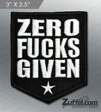 Zero Fucks Given Morale Patch - Black