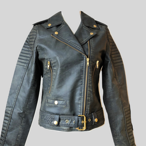 Biker Eco-Vegan Leather Jacket Belted 'Ellie'