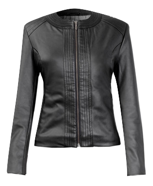 Biker Collarless Eco-Vegan Leather Jacket 'Lelia'