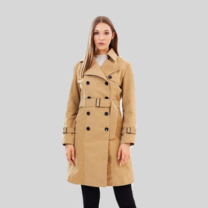 Trench Coat Vegan 'Anne' Camel Colour