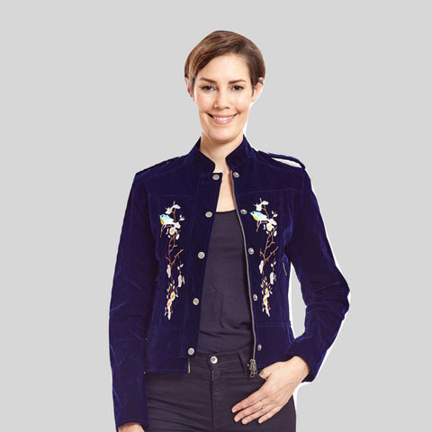 Biker Vegan Jacket Velvet Embroidered 'Ashling'