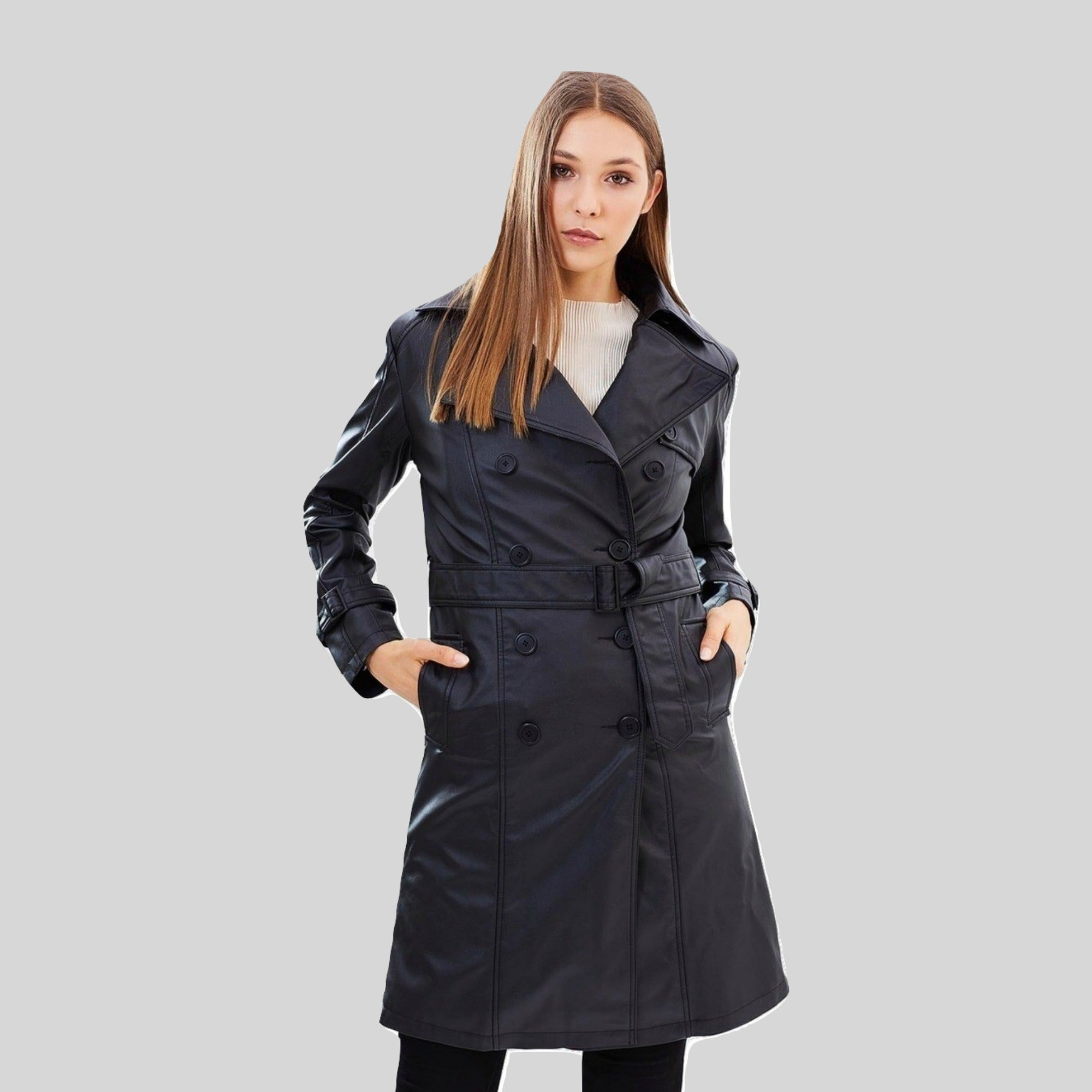 Trench Coat Vegan Leather 'Irene' Black