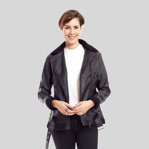 Bomber Vegan Leather Aviator Bomber With Black Trim 'Kathryn'