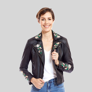 Biker Vegan Leather Jacket 'Marie'