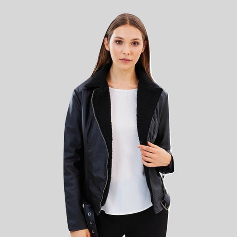 Bomber Vegan Leather Aviator Jacket 'Sandra' Black
