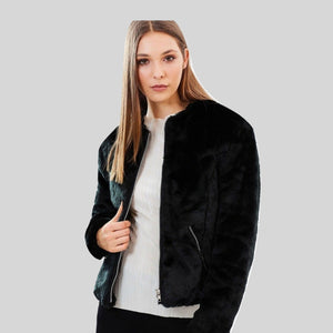 Collarless Faux Fur Jacket 'Vanessa' Black