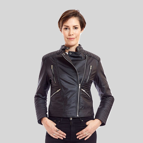 Biker Vegan Leather Jacket With Quilting Detail 'Zoe'