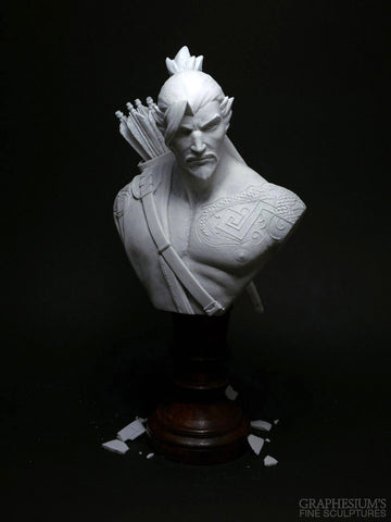Hanzo (Overwatch), Hand-made stone sculpture (statue/bust/figure) by Graphesium (gsculpt)