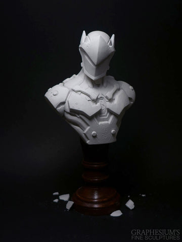Genji (Overwatch), Hand-made stone sculpture (statue/bust) by Graphesium (gsculpt)