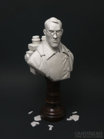 The Medic (Team Fortress 2, TF2), Hand-made stone sculpture (statue/bust) by Graphesium (gsculpt)