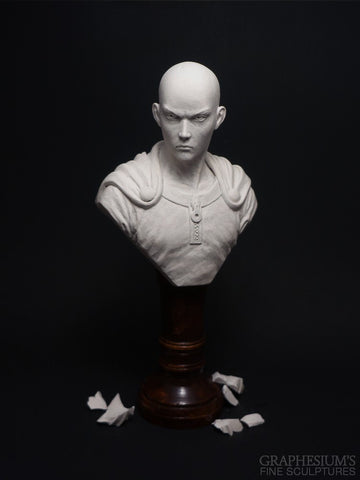 Saitama (One Punch Man), Hand-made stone sculpture (statue/bust) by Graphesium (gsculpt)