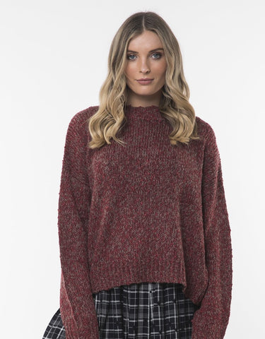 ALL ABOUT EVE-    ASSORTED KNIT CREW - BURGUNDY