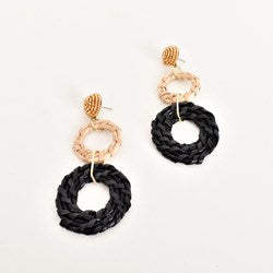 adorne-Bead Top Rattan Rings Earrings