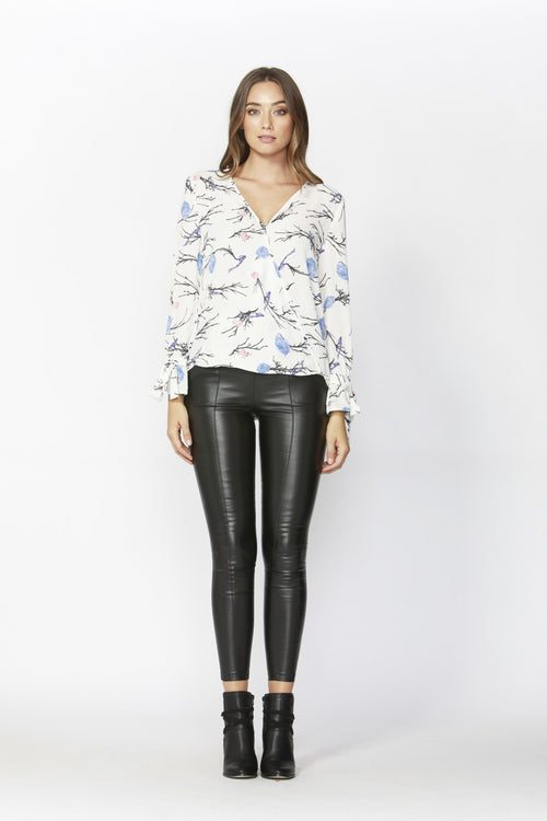 Birds of the Night wrap blouse by SASS