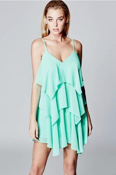 Marciano Mint Ruffle Dress - LAST ONE