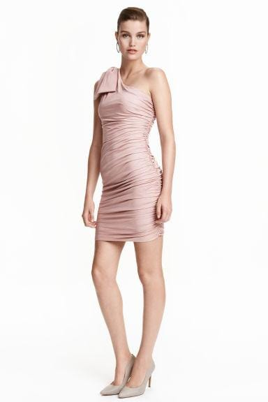 One-Shoulder Dusky Pink Dress
