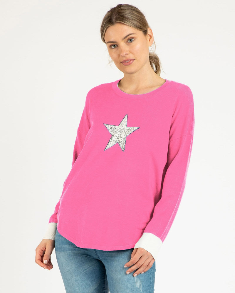Betty Basics Sophie Knit Sweater - Fuchsia Star