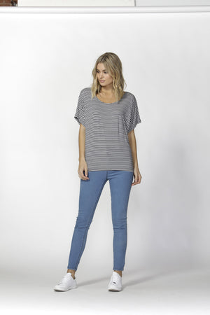 Maui Tee by Betty Basics - Navy Stripe