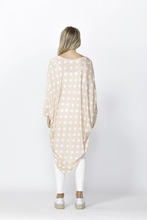 Betty Basics Santorini Drape Cardigan - Blush/White Spot