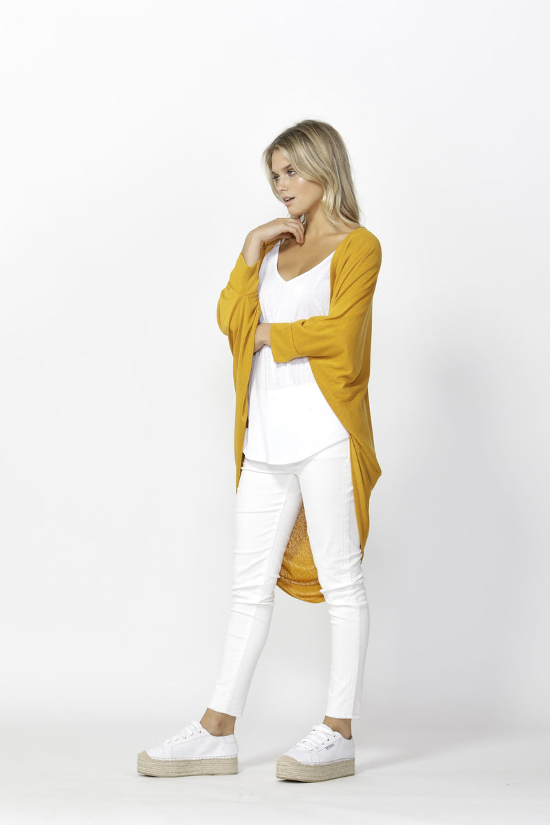 Betty Basics Santorini Drape Cardigan - Mango PREORDER DUE LATE SEPT