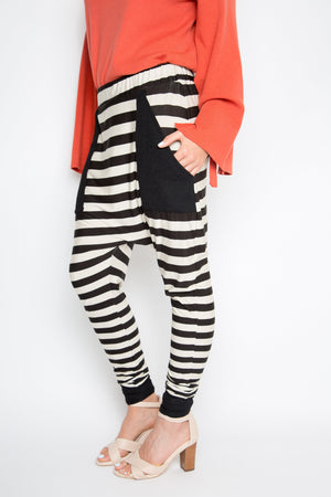 PQ Collection Cuffed Droppy Pants - Neutral Stripe LAST PAIR