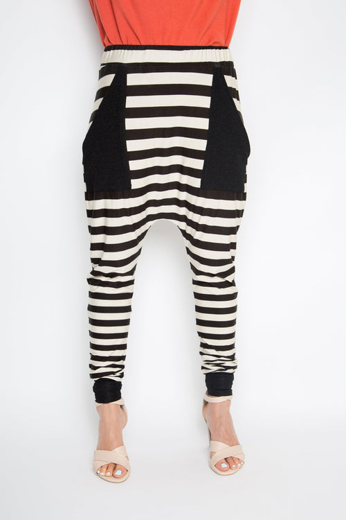 PQ Collection Cuffed Droppy Pants - Neutral Stripe