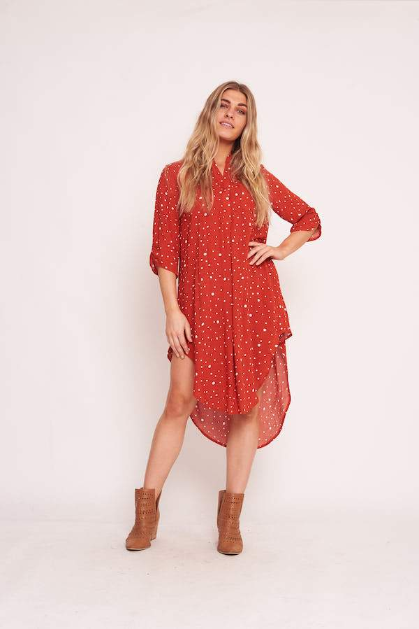 Label Of Love - Burnt Orange Spot Shirt Dress