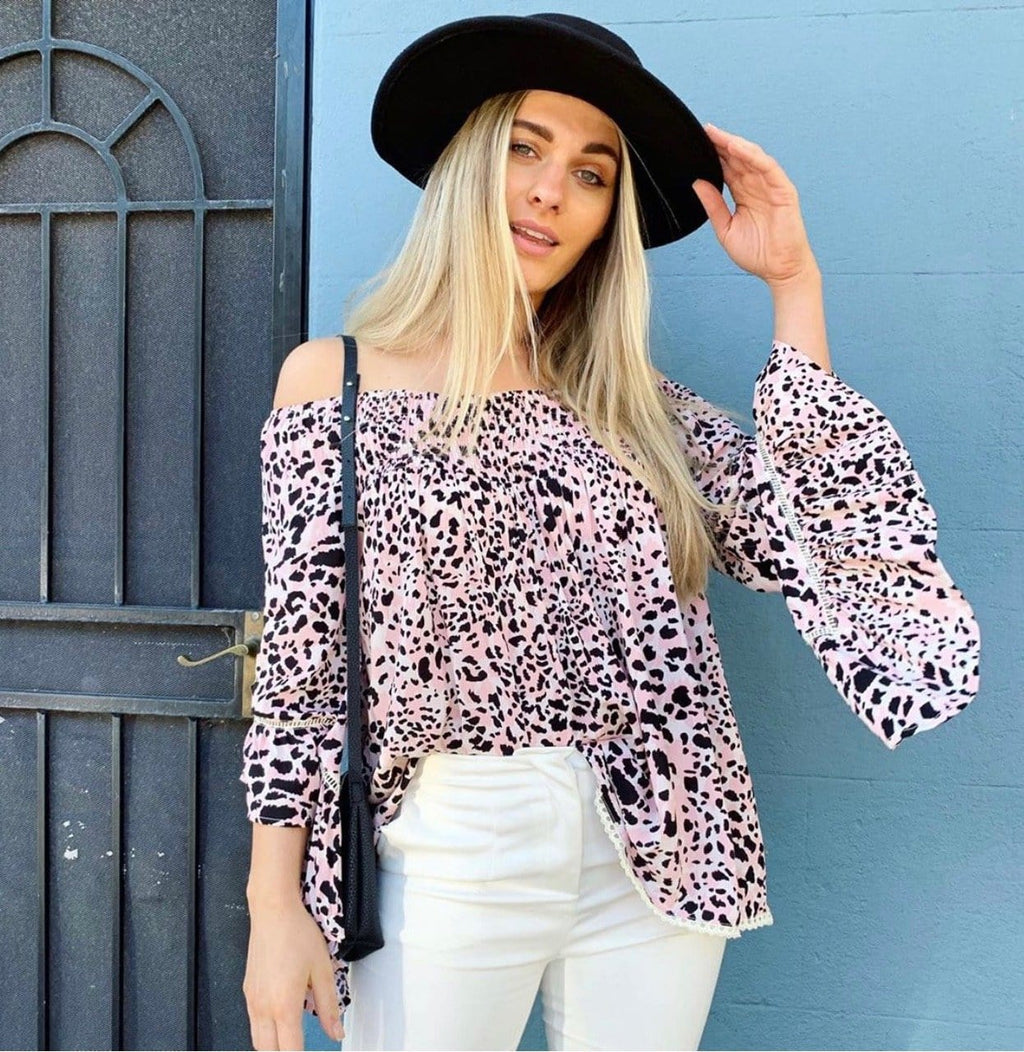 Label Of Love Off The Shoulder Top - Lilac Leopard