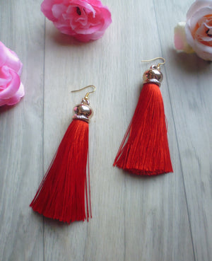 Poison Ivy Tassel Earrings - Red