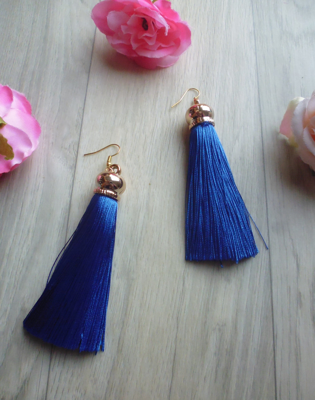 Poison Ivy Tassel Earrings - Royal Blue