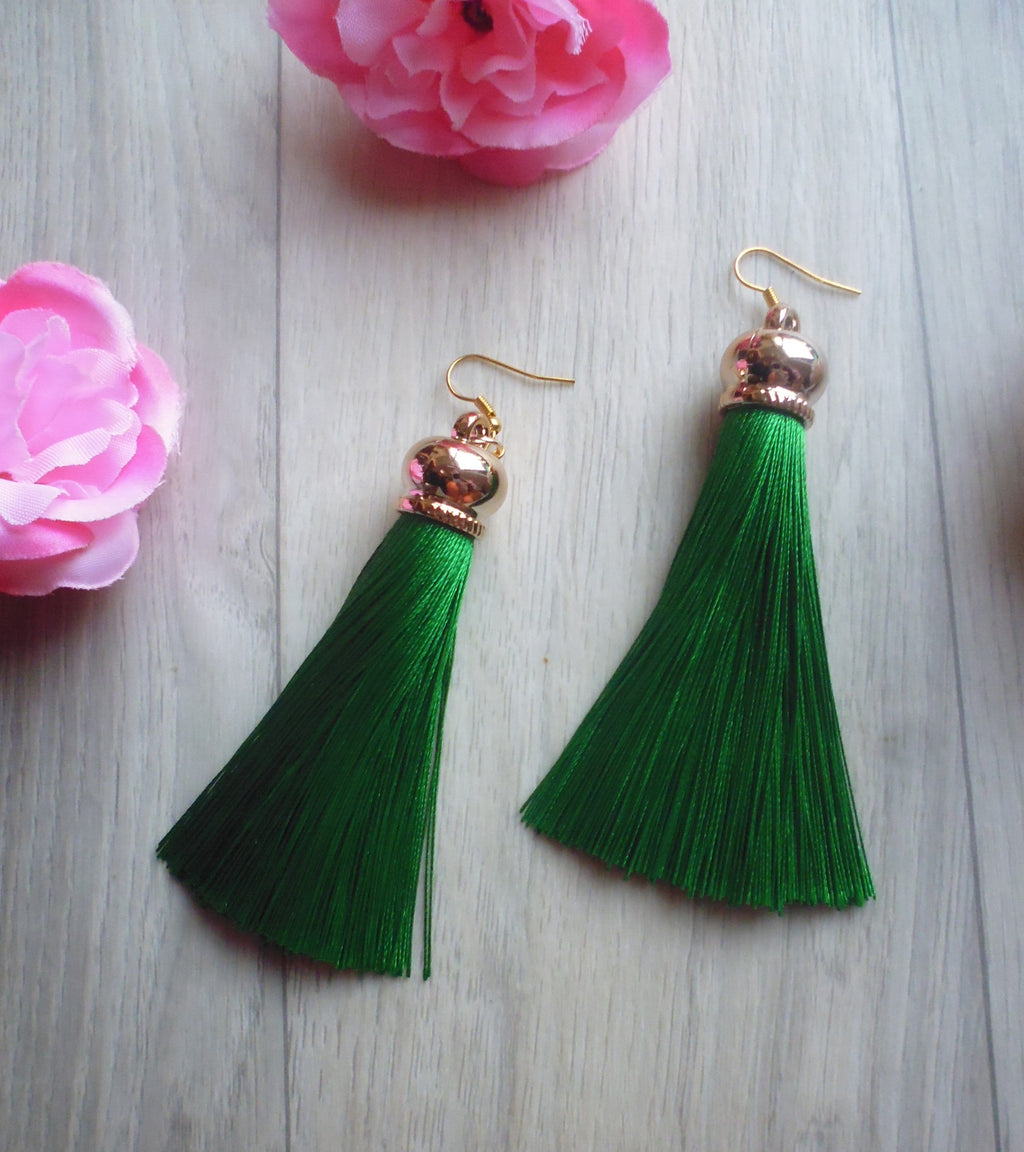 Poison Ivy Tassel Earrings - Green