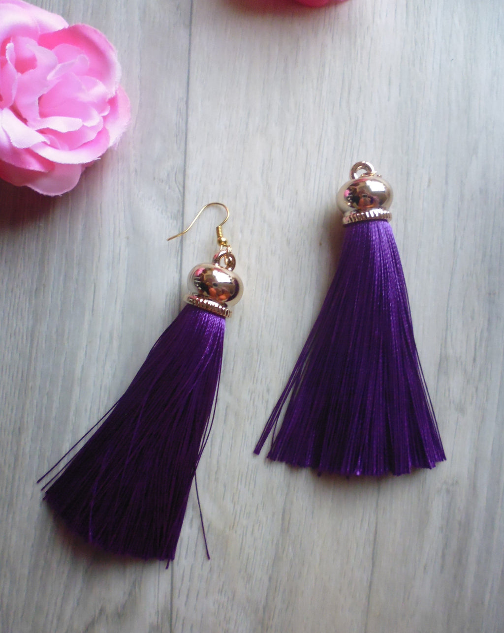 Poison Ivy Tassel Earrings - Purple