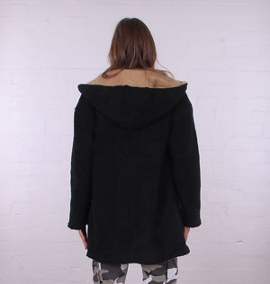 Reversible Teddy Coat - Black and Tan