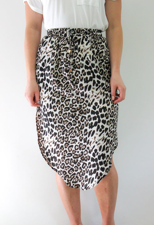 Melody Midi Skirt by White Closet - Black and White Leopard Print PREORDER