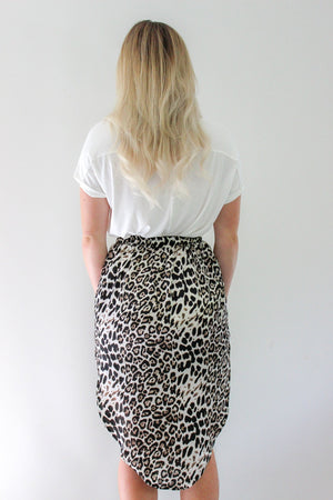 Melody Midi Skirt by White Closet - Black and White Leopard Print