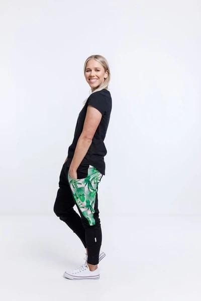 Home-Lee Loft Pants - Black With Tropical Print