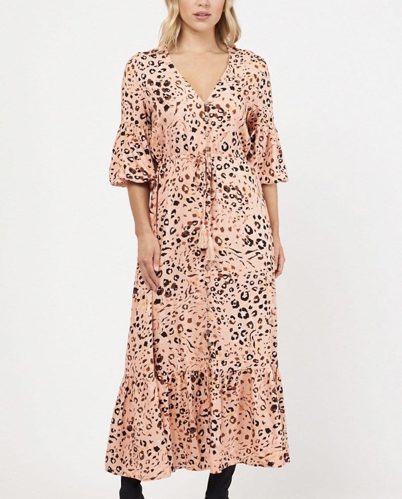 White Closet Peach Nara Maxi Dress