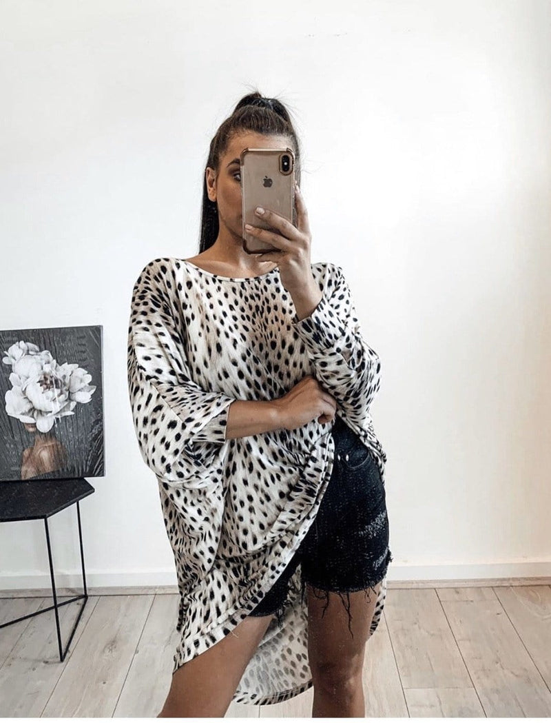 Bagira the Label - Animal Print Top - White PREORDER