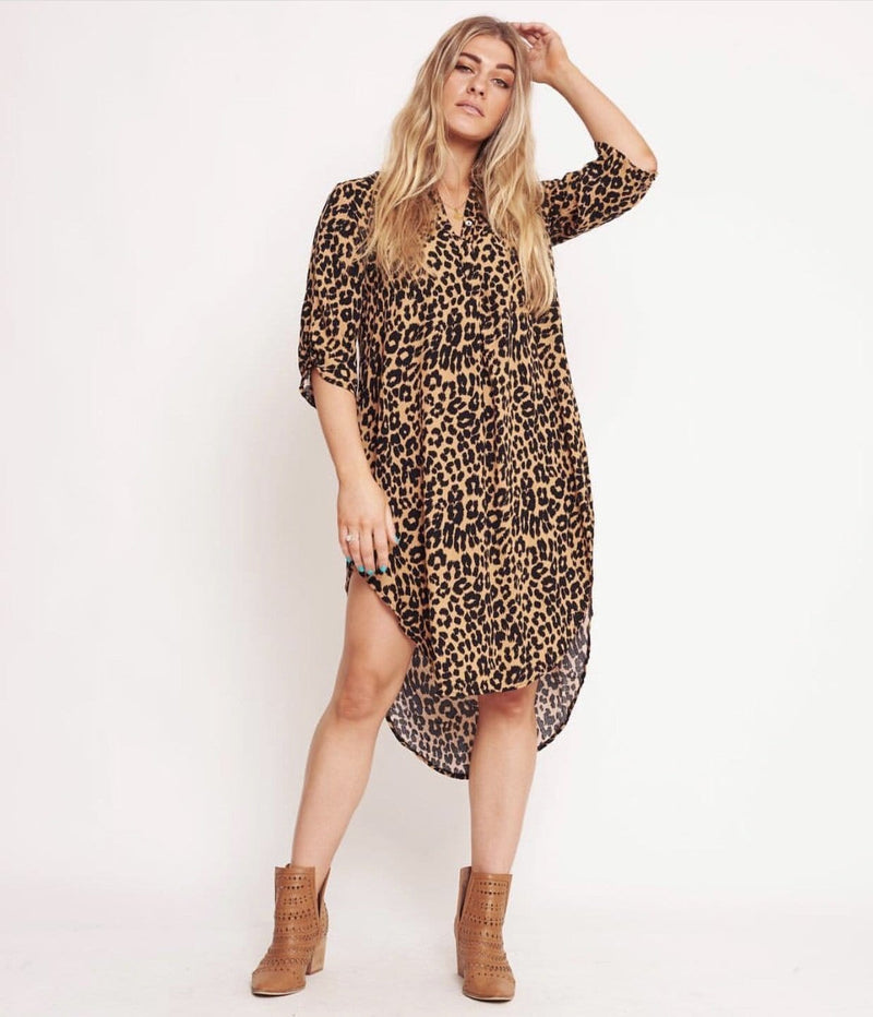 Label Of Love - Leopard Print Shirt Dress