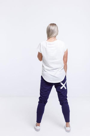 Home-Lee Apartment Pants - Navy with white X