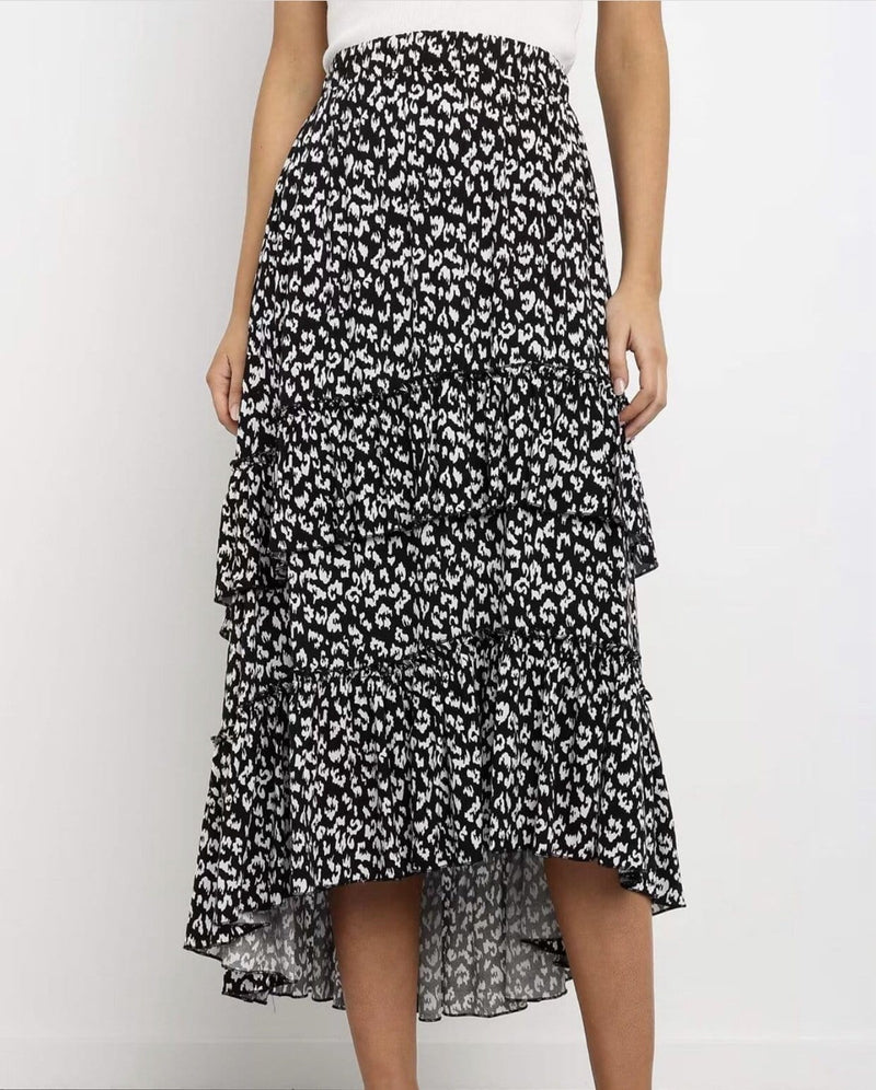 Label Of Love Tiered Leopard Maxi Skirt