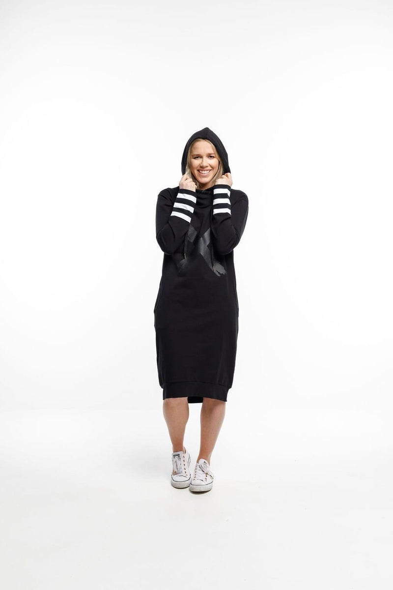 Home-Lee Hooded Sweater Dress Black