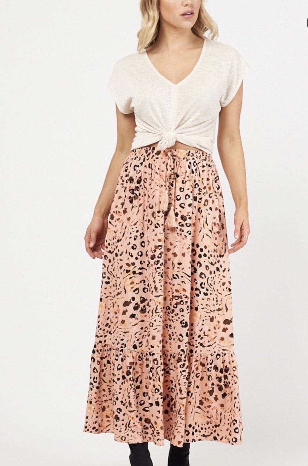 White Closet Peach Nara Maxi Skirt