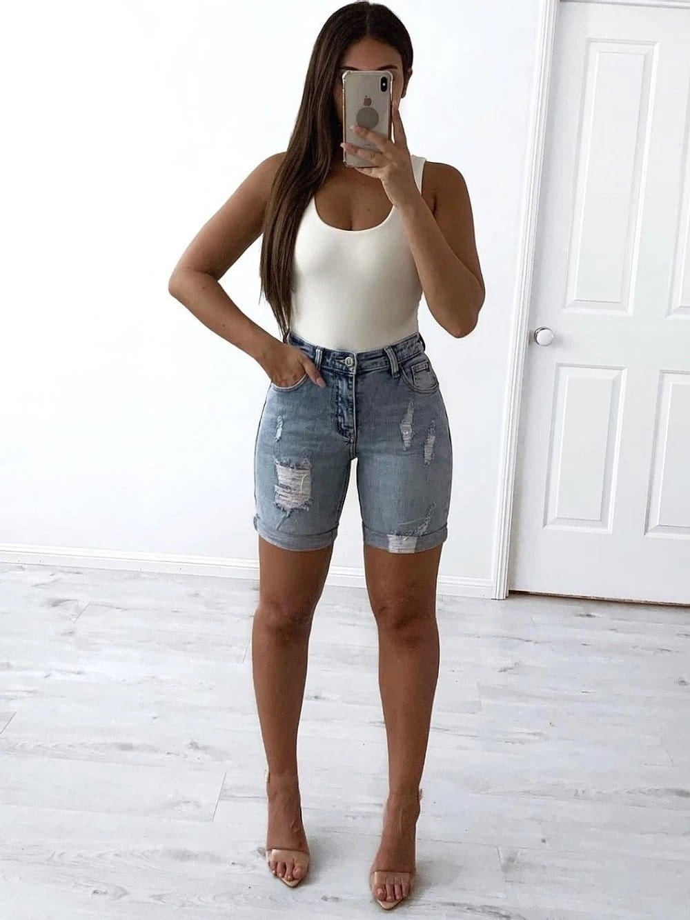 Wakee Denim - Distressed Denim Shorts
