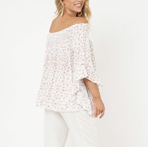 Label Of Love Off The Shoulder Top - Nude Leopard
