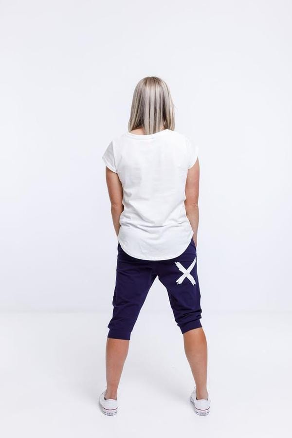 Home-Lee Apartment Pants 3/4- Navy with white X