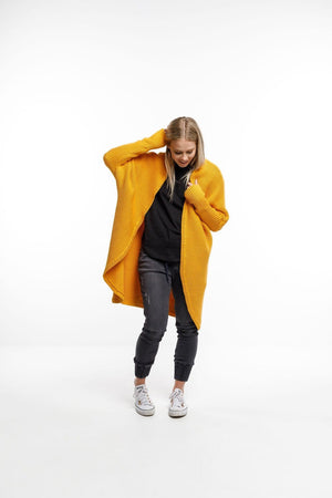 Home-Lee Chunky Knit Cardi - Mustard