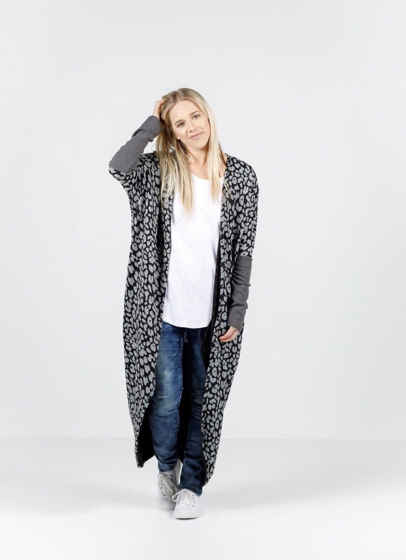 Home-Lee Long Line Kimono - Grey Leopard