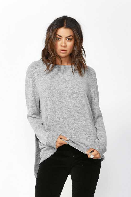 Ryder Cross Back Sweater by Betty Basics - Grey